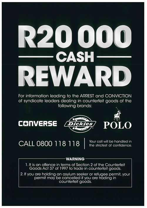R20 000 Reward Offered – Counterfeit Converse, Dickies & Polo