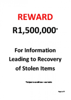 R1.5m Reward for Recovery of Stolen Items