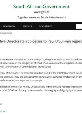 Police Investigative Directorate apologises to Paul O'Sullivan regarding Jackie Selebi investigation